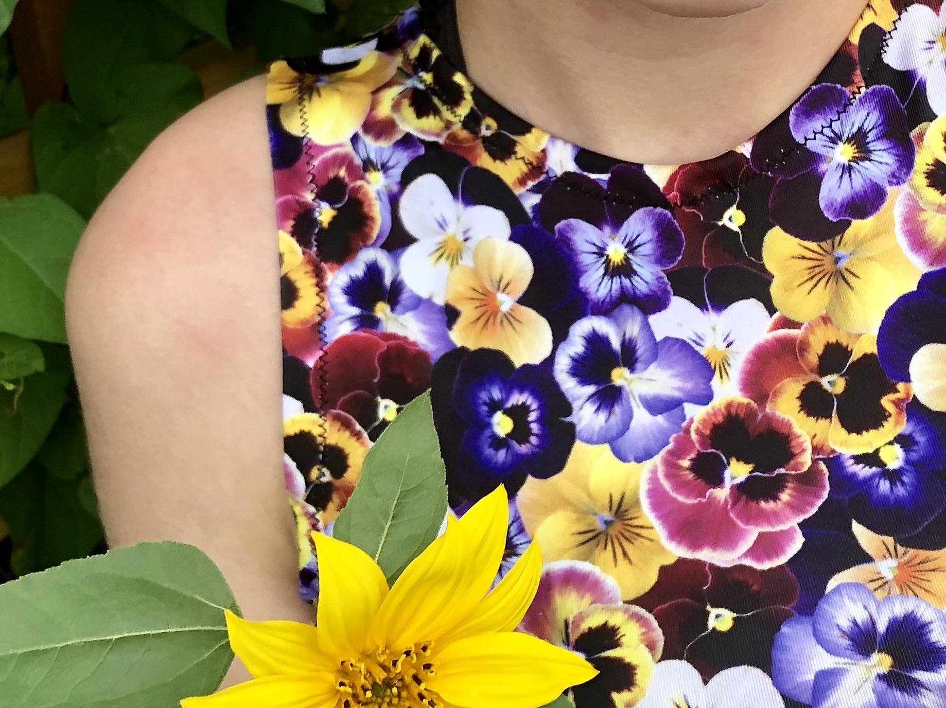 close up of pansy field fabric shirt